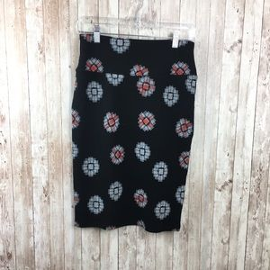 Lularoe Black Printed Pencil Skirt Size XS